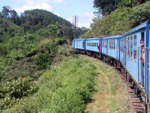 Man on the train in Sri Lanka