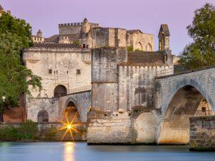 The famous bridge of Saint Benezet over the Rhone River at sunset. Avignon. France. Provence.