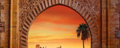 Alhambra arch Granada illustration with alhambra sunset photo mount