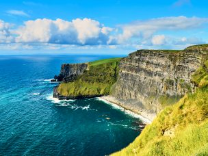Cliffs of moher in county Clare, Ireland. One of the most popular tourist destinations. Sunny summer day