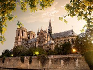 Notre Dame in Paris at sunset, France