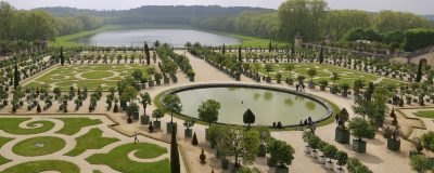 VERSAILLES, PARIS / FRANCE - MAY 05, 2017: The famous gardens of the Royal Palace of Versailles.