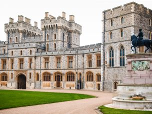MAR 2, 2011 Windsor, UK : Quadrangle in  Windsor Castle, a royal residence in the English county of Berkshire, was built in year 1066